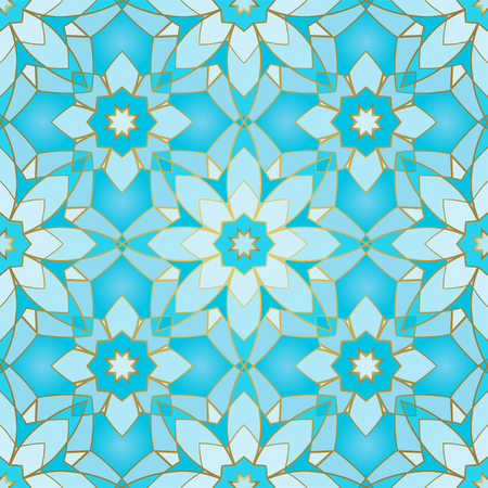 Seamless blue pattern. Oriental geometric ornament. Template for carpet, shawl, tile, wallpaper, textile, mosaic.  イラスト・ベクター素材