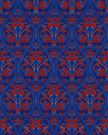 Oriental floral ornament. Blue template for carpet, shawl, wallpaper, textile and any surface. Ornamental pattern with filigree details.  イラスト・ベクター素材