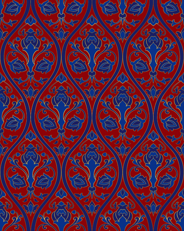 Oriental floral ornament. Blue and red template for carpet, shawl, wallpaper, textile and any surface. Ornamental pattern with filigree details.  イラスト・ベクター素材