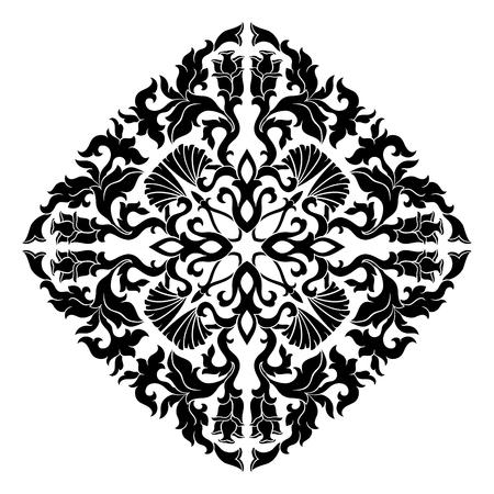 Éléments floraux vectoriels pour la conception sur fond blanc. Ornement simple oriental. Gabarit pour carrelage, papier peint et toutes surfaces.