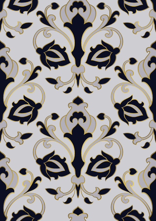 Oriental floral ornament. Template for carpet, shawl, textile and any surface. Ornamental pattern with filigree details.