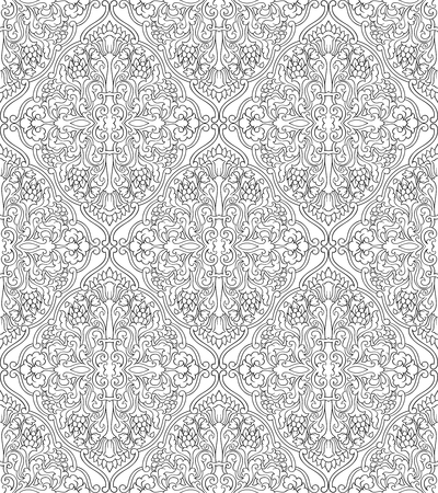 Abstract pattern with damask. Seamless filigree ornament. Black and white template for wallpaper, textile, shawl, carpet.  イラスト・ベクター素材