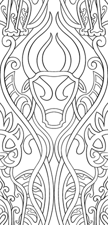 Ornamental vector pattern. Seamless filigree ornament. Black and white template for wallpaper, textile, shawl, carpet and any surface. Stylized ornament with panther and bull.
