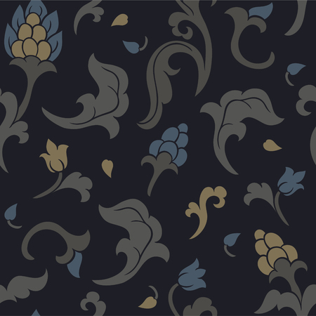 Oriental floral ornament. Dark template for shawl, textile wallpaper, and any surface. Ornamental pattern with filigree details.