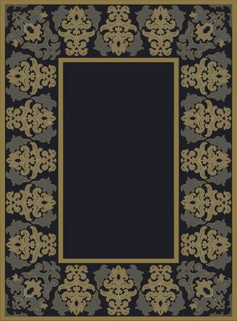 Oriental dark ornament. Template for frame, photo. Border. Vector pattern with place for your text.