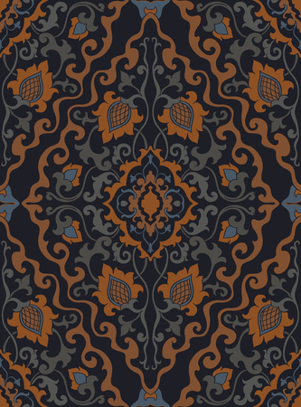 Oriental floral ornament. Medieval template for carpet, shawl, textile wallpaper, and any surface. Ornamental pattern with filigree details. Standard-Bild - 134729698