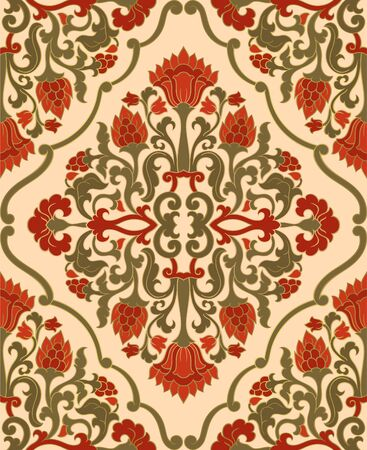Oriental floral ornament. Colorful template for carpet, shawl, textile and any surface. Ornamental pattern with filigree details. Illusztráció