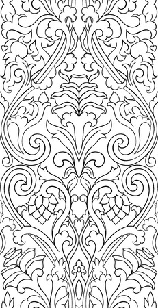 Floral pattern with damask. Seamless filigree ornament. Black and white template for wallpaper, textile, shawl, carpet.   イラスト・ベクター素材
