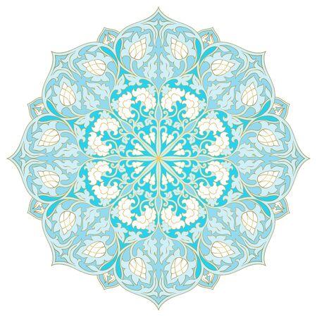 Vector floral mandala. Blue design element. Oriental elegant ornament. Vetores
