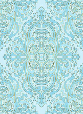 Mystical abstract pattern with face. Seamless filigree ornament. Medieval Blue template for wallpaper, textile, shawl, carpet.
