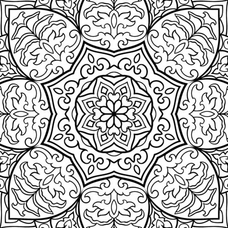 Abstract vector background. Pattern with mandala. Oriental black and white ornament. Filigree template for carpet, textile, shawl, stained glass. Stock Illustratie