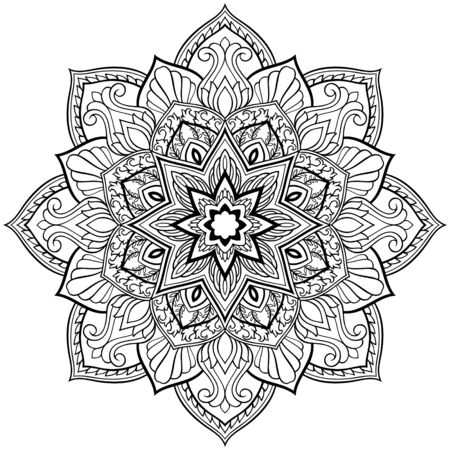 Filigree abstract mandala. Oriental ethnic ornament. Design element. Tattoo. Çizim