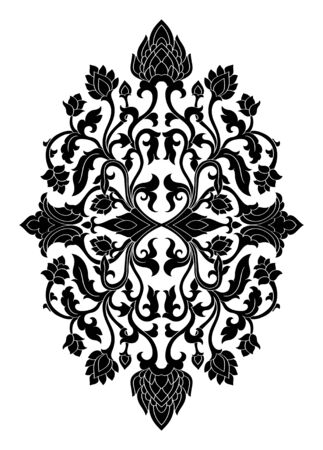 Floral medallion for design. Template for carpet, wallpaper, textile and any surface. Vector black ornament on a white background.