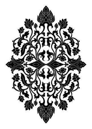 Médaillon floral pour la conception. Modèle pour tapis, papier peint, textile et toute surface. Ornement de vecteur noir sur fond blanc.