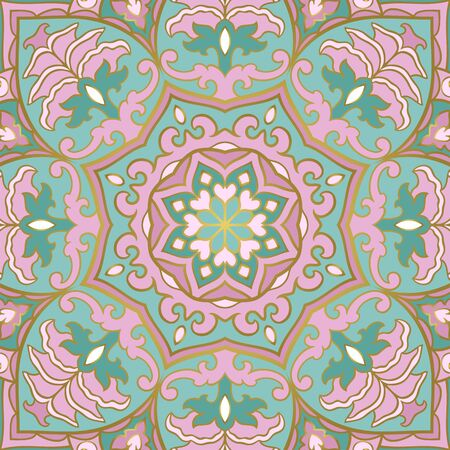 Floral indian pattern with mandala. Pink and green Vector beautiful background. Color template for textile, carpet, shawl.