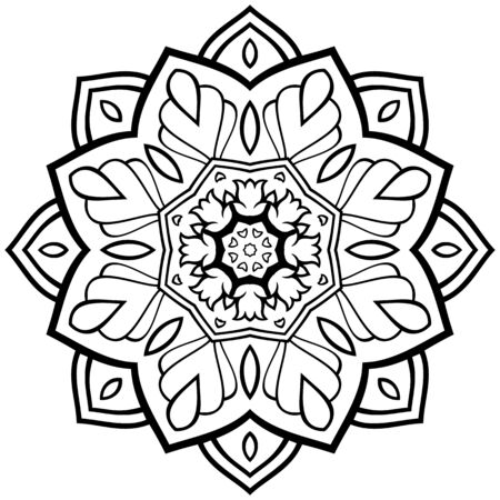 Filigree abstract mandala. Oriental ethnic ornament. Design element. Simple tattoo. Indian pattern. Ilustração