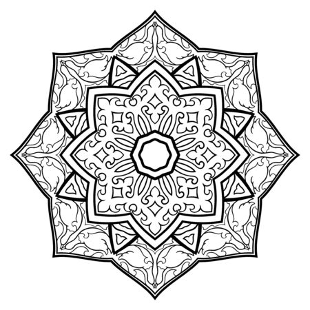 Filigree abstract mandala. Oriental ethnic ornament. Design element with birds. Tattoo.