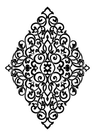 Abstract medallion for design. Template for carpet, wallpaper, textile and any surface. Vector black ornament on a white background.