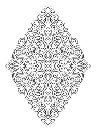 Abstract medallion for design. Template for carpet, wallpaper, textile and any surface. Vector ornament on a white background. Иллюстрация