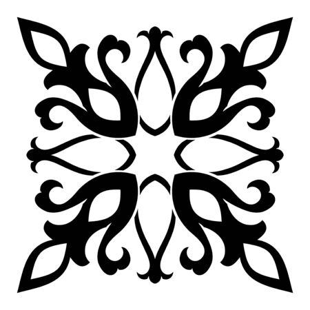 Medieval design element. Simple emplate for carpet, wallpaper, textile and any surface. Vector black ornament on a white background.   イラスト・ベクター素材