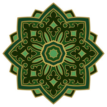 Green abstract mandala. Simple gesign element. Oriental elegant ornament. Indian blue and red pattern.