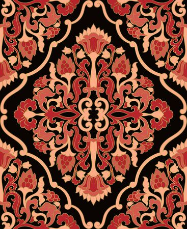 Oriental floral ornament. Colorful template for carpet, shawl, textile and any surface. Pink and black ornamental pattern with filigree details.