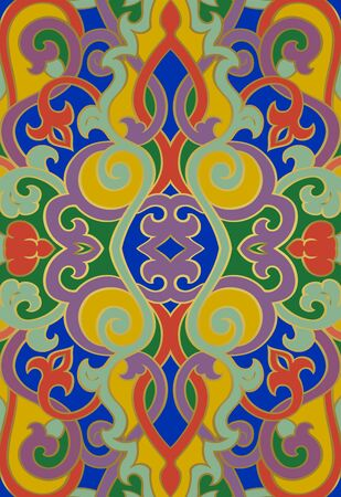 Abstract colorful pattern. Vector beautiful background. Oriental template for textile, carpet, shawl, playing card back.  Иллюстрация