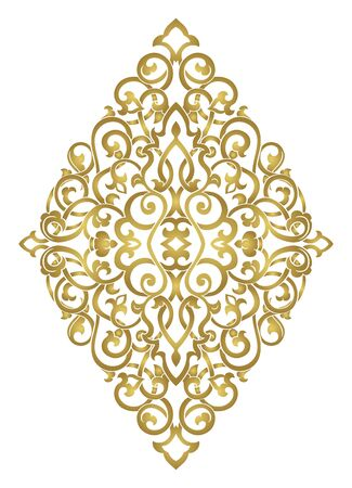 Abstract medallion for design. Template for carpet, wallpaper, textile and any surface. Vector golden ornament on a white background. Illusztráció