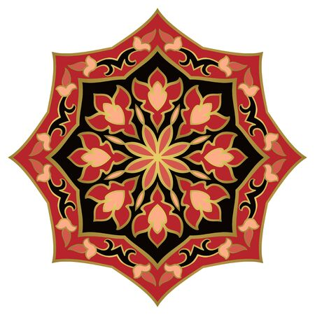 Colorful abstract mandala. Simple gesign element. Oriental elegant ornament. Indian pink and black pattern.  일러스트