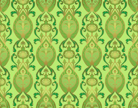 Rich floral pattern. Seamless vector ornament with pomegranate. Green template for wallpaper, textile, linen, shawl, carpet and any surface. 일러스트