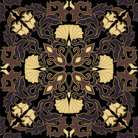 Oriental medieval abstract ornament. Template for carpet, textile, tile, tapestry and any surface. Seamless vector pattern.