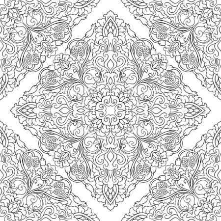 Floral vector pattern with pomegranate. Seamless filigree ornament. Black and white template for wallpaper, textile, shawl, carpet.