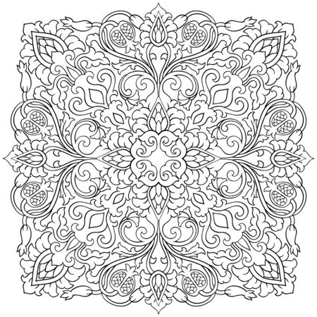 Floral medallion for design. Template for carpet, wallpaper, textile and any surface. Vector black ornament with pomegranate on a white background.