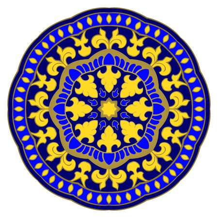 Colorful abstract mandala. Blue and yellow gesign element.