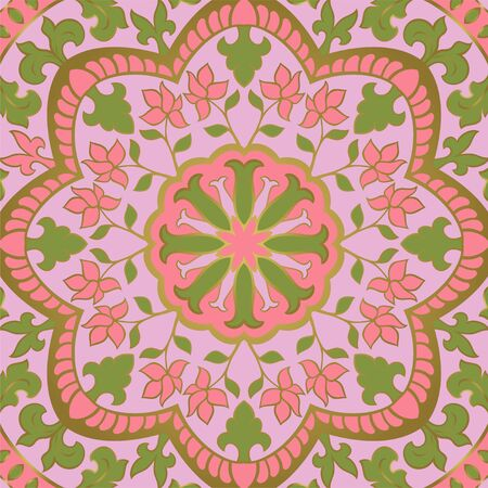 Floral indian pattern with mandala. Pink Vector beautiful background. Color template for textile, carpet, shawl.