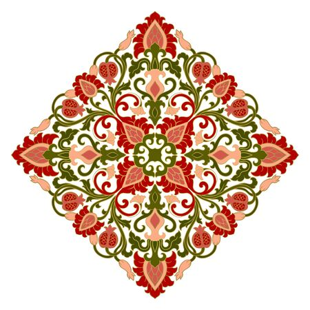 Floral medallion for design. Template for carpet, wallpaper, textile and any surface. Vector colorful ornament with pomegranate on a white background.