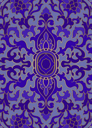Pattern with ornamental flowers. Blue floral ornament. Template for wallpaper, textile, shawl, carpet and any surface.
