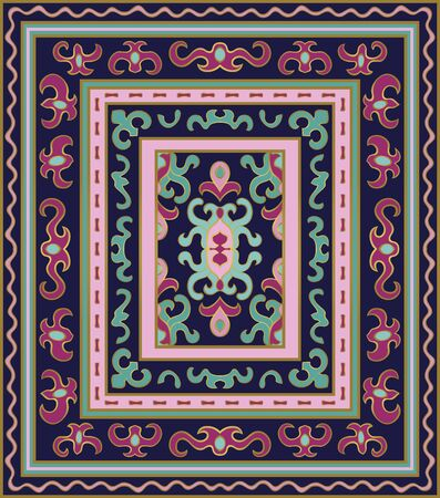Oriental abstract ornament. Colorful template for carpet, textile. Eastern pattern with frame.