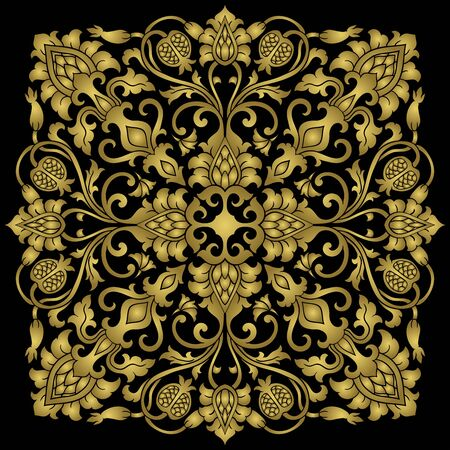Medaglione floreale per il design. Modello per moquette, carta da parati, tessuto e qualsiasi superficie. Ornamento dorato di vettore con il melograno su sfondo nero. Vettoriali