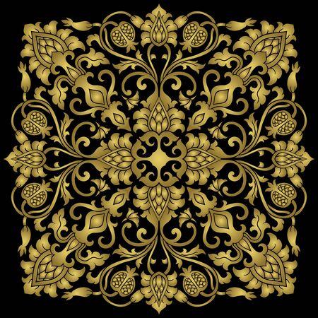 Medalion kwiatowy do projektowania. Szablon do dywanu, tapety, tkaniny i dowolnej powierzchni. Wektor złoty ornament z granatu na czarnym tle. Ilustracje wektorowe