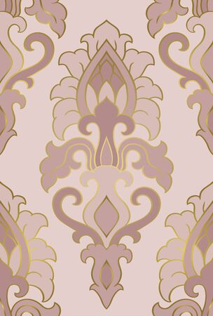 Oriental abstract pattern. Vector pink template for textile, shawl, carpet. Colorful ornament.  イラスト・ベクター素材
