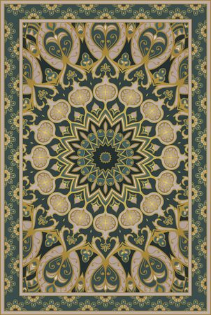 Template for carpet, textile. Oriental floral ornament with pomegranate. Green pattern with ornamental frame.