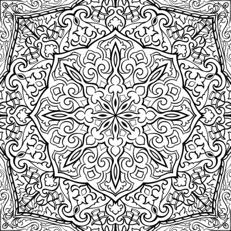 Traditional vector background. Pattern with mandala. Oriental black and white ornament. Template for carpet, textile, tile, shawl.