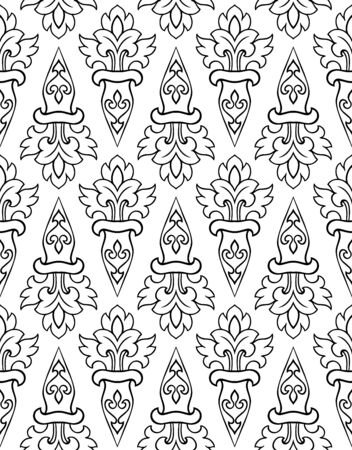 Abstract vector ornament. Simple template for carpet, wallpaper, textile and any surface. Seamless black and white pattern.