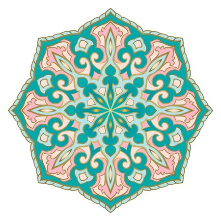 Turquoise and pink abstract mandala. Traditional gesign element. Oriental elegant ornament. Indian pattern.   イラスト・ベクター素材