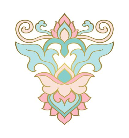 Elegant design element. Simple template for carpet, wallpaper, textile and any surface. Vector turquoise and pink ornament on a white background.