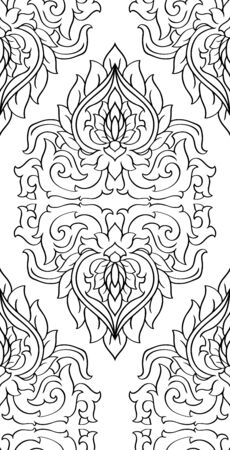 Oriental floral background. Black and white elegant ornament. Template for carpet, wallpaper, textile and any surface. Seamless vector pattern. Vektoros illusztráció
