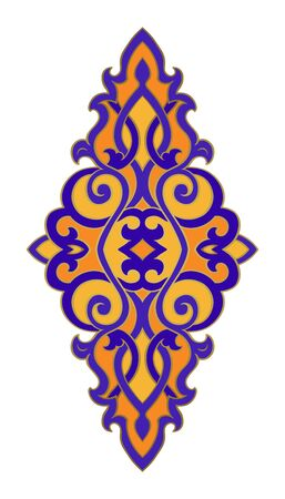 Abstract medallion for design. Blue and yellow elegant template for carpet, wallpaper, textile and any surface. Vector ornament on a white background.  イラスト・ベクター素材
