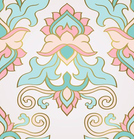 Oriental floral background. Turquoise and pink elegant ornament. Template for carpet, wallpaper, textile and any surface. Seamless vector pattern.  イラスト・ベクター素材