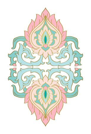 Floral medallion for design. Template for carpet, wallpaper, textile and any surface. Vector turquoise and pink ornament on a white background.